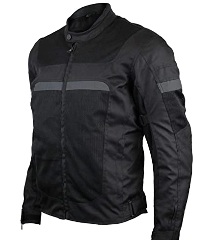 Mens Motorcycle Perforated Textile Reflective Mesh Riding 3 Season Jacket with CE amors (L)