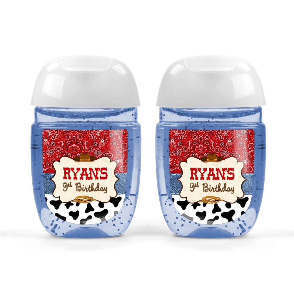 Yee Haw Birthday Hand Sanitizer Labels