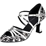 Honeystore Women's Criss Cross Strap Metal Buckle Dance Shoes