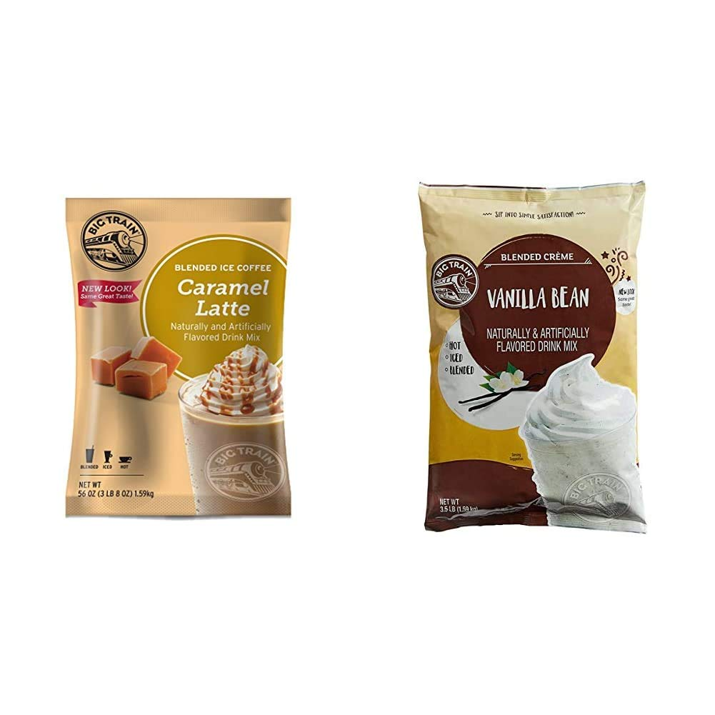 Big Train Blended Ice Coffee Caramel Latte 3 Lb 8 Oz (1 Count), Powdered Instant Coffee Drink Mix, Makes Blended Frappe Drinks & Blended Creme Mix Vanilla Bean 3.5 Lb (1 Count)
