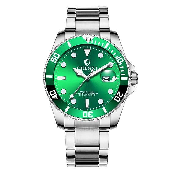 Relojes Pulsera Estilo Submariner Calendario Analógico Relojes Hombre Acero Inoxidable Cuero Elegante