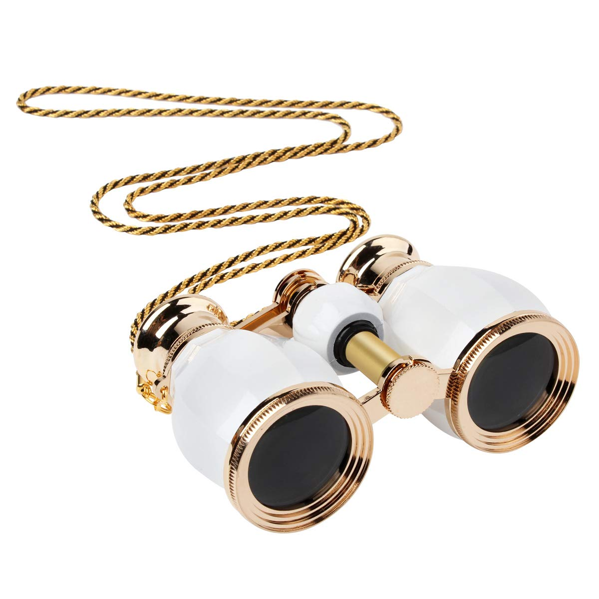ESAKO Opera Glasses for Women Adults 4x30mm Compact Binoculars for Theater Concert with Removable Chain White by ESAKO