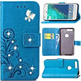 Google Pixel Case,HAOTP Luxury 3D Fashion Handmade Bling Crystal Rhinestone Butterfly Floral Lucky Flowers PU Flip Stand Credit Card ID Holders Wallet Leather Case Cover for Google Pixel (Bling/Blue)