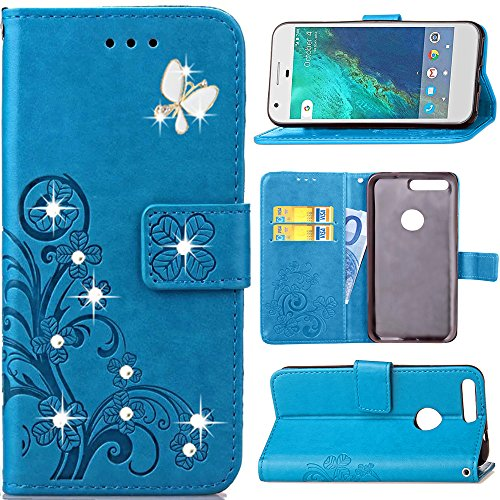 Google Pixel XL Case,HAOTP Luxury 3D Handmade Bling Crystal Rhinestone Butterfly Floral Lucky Flowers PU Flip Stand Credit Card ID Holders Wallet Leather Case Cover for Google Pixel XL (Bling/Blue)