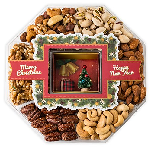 Mini Wishes Jumbo Merry Christmas Gift Baskets with Fresh Variety of Gourmet Nuts and Miniature Ornamented Tree