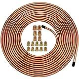 """25 Ft. of 3/16 Brake Line Tubing Kit - Muhize Flexible Copper Tube Roll 25 ft 3/16"""" (Includes 16 Fittings)"""