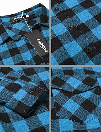 Automne Zeagoo Bleu Blouse Coton Casual Femme Chemise Carreaux T Chemisier Shirt awqga0rv