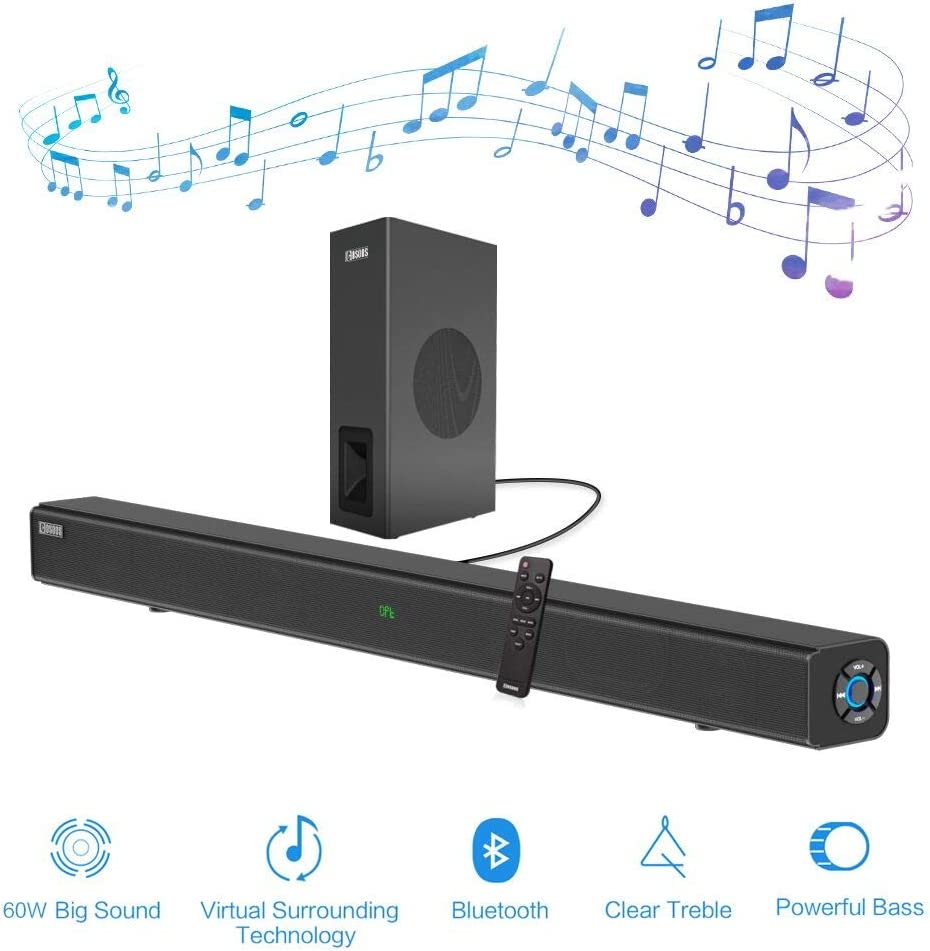 Sound Bars for TV, COSOOS 60W 33.5inch Soundbar with Subwoofer,Bluetooth 5.0, 2.1 Channel, Screen Display, Remote, Home Theater System, Support Digital Optical, RCA, AUX, USB Play, Wall Mountable