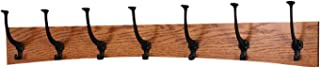 "product image for PegandRail Oak Wall Mounted Coat Rack - Arched Back Design - Black Mission Hooks - Made in The USA (Burnt Orange, 36"" x 6.5"" - 7 Hooks)"