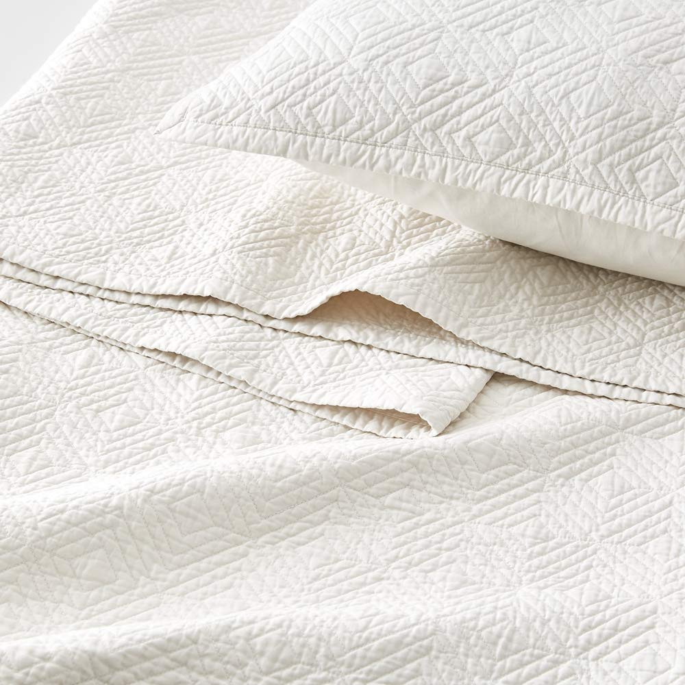 Calla Angel Evelyn Stitch Diamond Luxury Pure Cotton Quilt, Ivory, King by Calla Angel (Image #5)