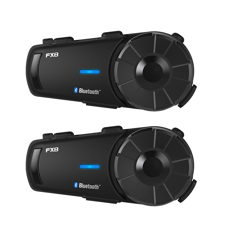 FODSPORTS バイク インカム FX8 最大8人同時通話 FMラジオ付きインタコーム 2台セット bluetooth HIFI高音質 防水 インカムバイク 無線機バイク いんかむ 2種類マイク 連続20時間通話日本語音声案内 技適マーク認定済み 2台セット  B07QR3R6JN
