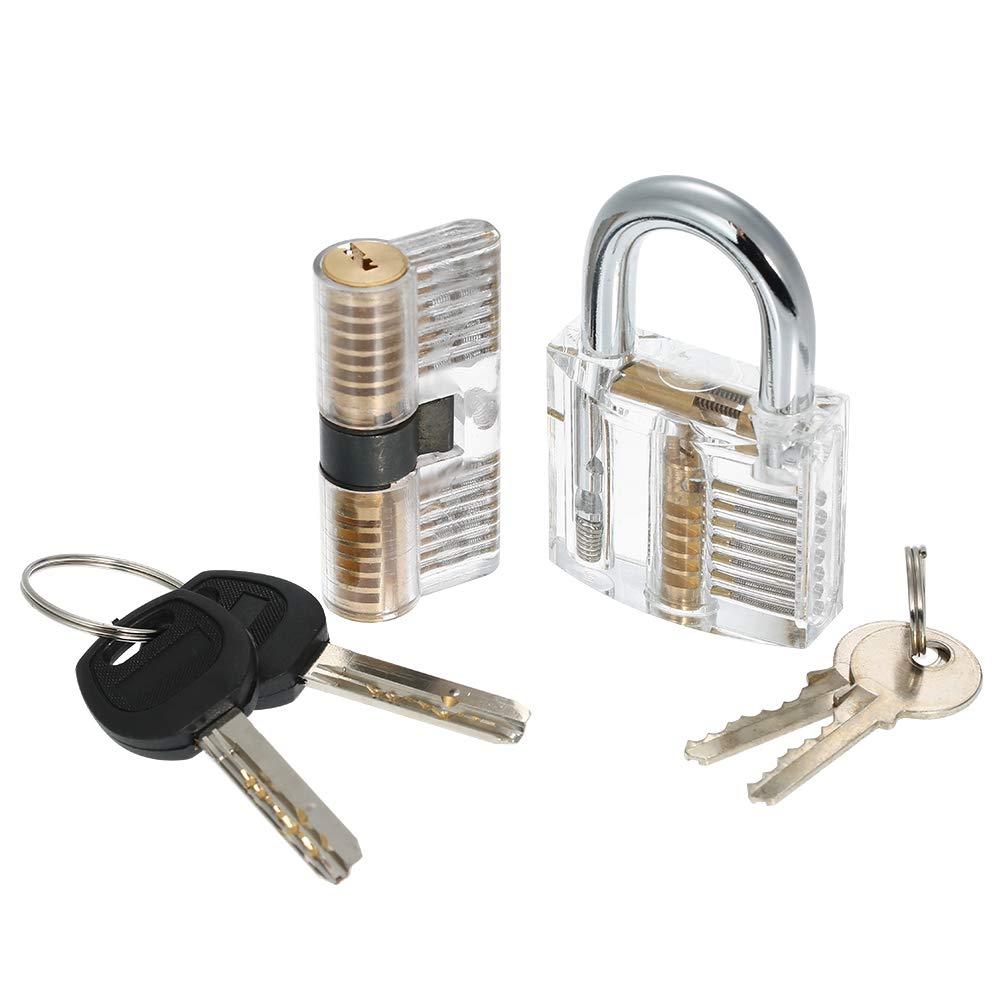 Decdeal Dietrich Set 15 St/ück Lock Picking Set Kit Tool mit 2 Transparenten Praxis Training Vorh/ängeschloss Schloss f/ür Schlosser Anf/änger und Profis