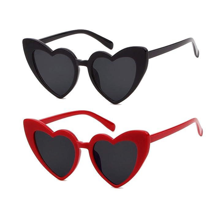 b3ed5e9b8cc SORVINO Love Heart Shaped Sunglasses Vintage Retro Cat Eye Oversized  Eyewear(C-Black Red)