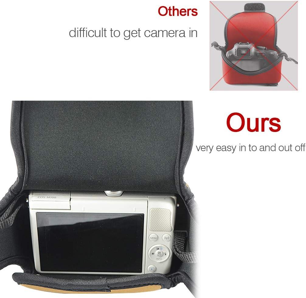 Custodia per Fotocamera SLR con Protezione in Neoprene borsa Compatibile con Olympus OM-D EM10 Mark III EM10 Mark II EM10 EM5 Mark III EM5 Mark II EM5 14-150mm 12-40mm Lens nero