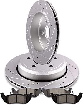 Front /& Rear Drill Slot BRAKE ROTORS /& CERAMIC Pads For Crown Vic Grand Marquis