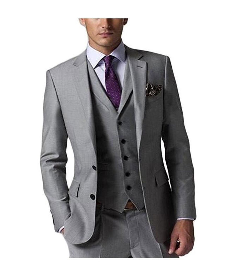 Botong Grey Wedding Suits for Men 3 Pieces Business Men Suits Groom Tuxedos Grey 40 chest / 34 waist