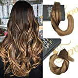 "Sunny 22"" Tape in Hair Extensions Human Hair Balayage Dark Brown Mixed Gold Brown and Dark Ash Blonde Real Ombre Tape in Extensions 20pcs/50g per pack"