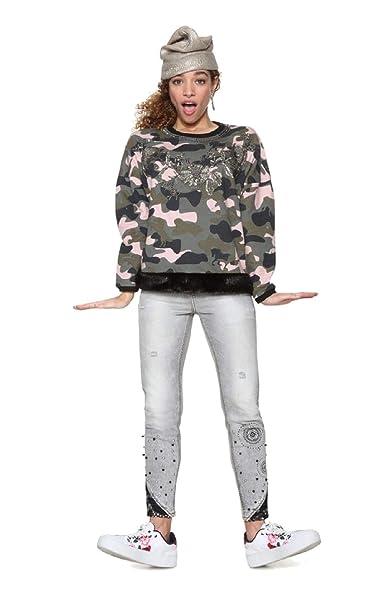 Desigual - Sudadera Sweat Army Mujer Color: 4091 Talla: Size S