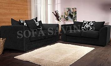 Nueva Alexa Chenilla sofá Set con Cojines, Color Negro y ...