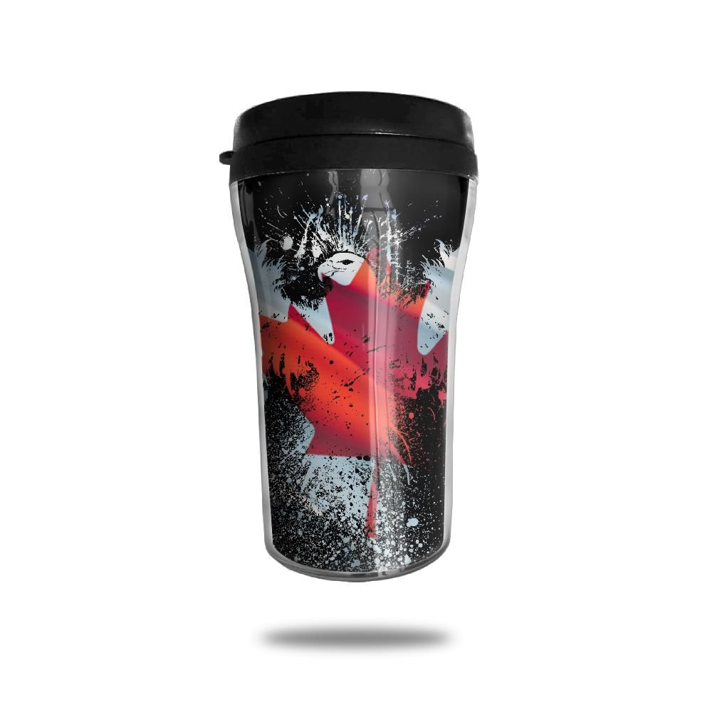 FTRGRAFE Eagle Shape Canada Flag Travel Coffee Mug 3D Printed Portable Vacuum Cup,Insulated Tea Cup Water Bottle Tumblers For Drinking With Lid 8.54 Oz (250 Ml)