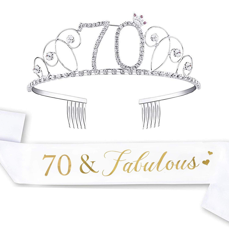Amazon.com: LAUMAY Kit de 70 cumpleaños y tiara, 70 y ...