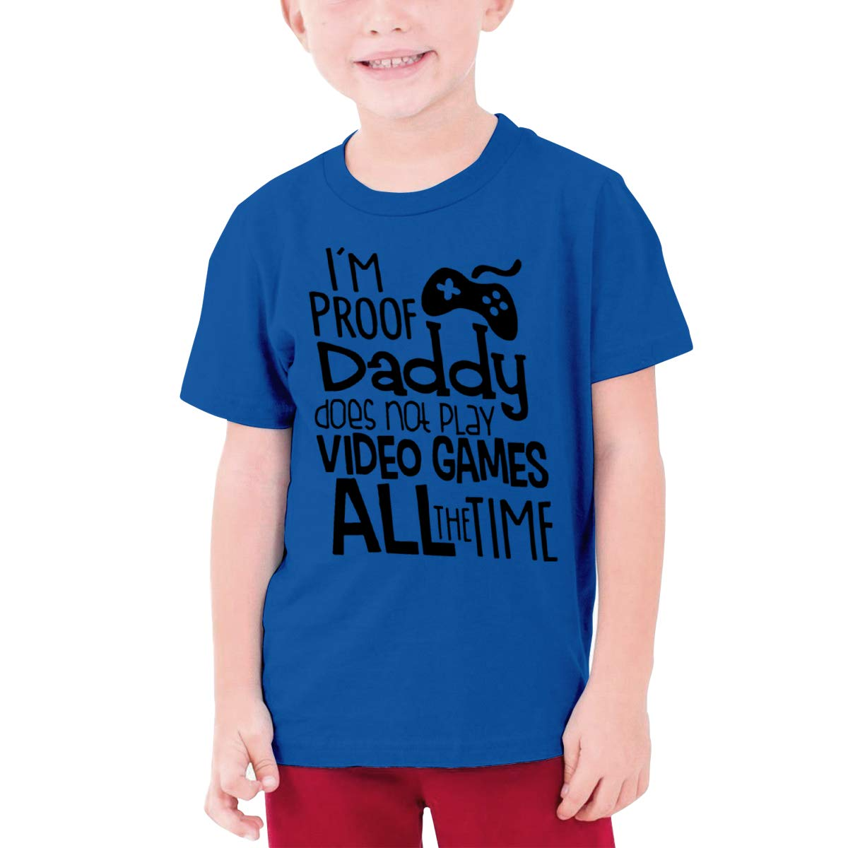 I Am Proof Daddy Does Not Play Video Game All The Time Boy Short-Sleeved T-Shirt