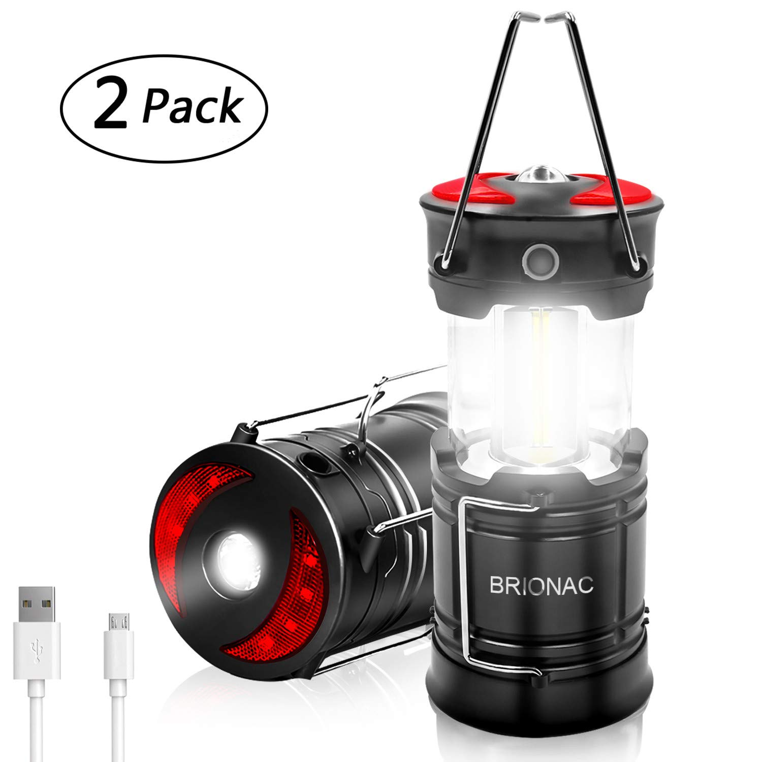 Rechargeable LED Camping Lantern, Brionac Newest Magnetic Lantern Tent Light 4-In-1 Flashlight with USB Cable, Best for Emergency, Hurricane, Power Outage - 2 Pack by BRIONAC