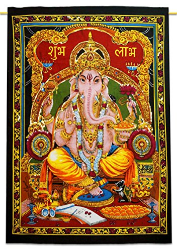"""Indian Wall Hanging Lord Ganesha Cotton Tapestry Poster Size Multicolor Tapestries 43"""" X 30"""""""