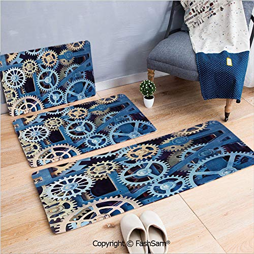 3 Piece Fashion Flannel Door Mat Carpet A Set of Clock Gears Steel Cogwheels Pattern Mechanical Theme Design for Door Rugs Living Room(W15.7xL23.6 by W19.6xL31.5 by W17.7xL53)