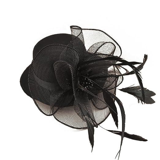f1a0d66f4 BAOBAO Flower Mesh Net Fascinators Hair Clip Mini Top Hats for Wedding  Party Headwear