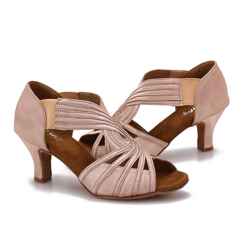 Ballroom Dance Shoes Women Latin Salsa Practice Dancer Shoes 2.5'' Heels YT02(6.5, Nude)