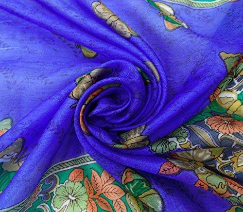 20 Donne Blu Rettangolo Verde Morbide Pollici Farfalla 70 In Sciarpa Seta Di Stampato Pura Royal E Avvolgere X AFwfx7