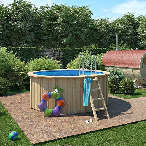 ISIDOR CONNIE Holzpool mit Stahlwand inkl. Sandfilterpumpe 300x120cm (Ø 300 mit Sicherheitsleiter)