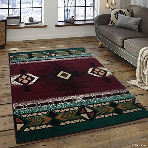 Allstar 8x10 Burgundy and Green Navajo Machine Carved Effect Rectangular Accent Rug with Ivory and Mocha Southwestern Design (7' 9