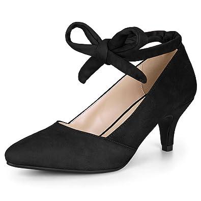 a9833c267b Amazon.com | Allegra K Women's Pointed Toe Lace Up Kitten Heel Pumps ...