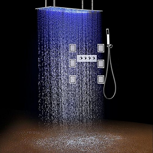 Gowe 5001000mm Large Rainfall LED Shower Head High Flow 50L Hot Cold Conceal Shower Mixer Body Jets Massage Shower Set 1