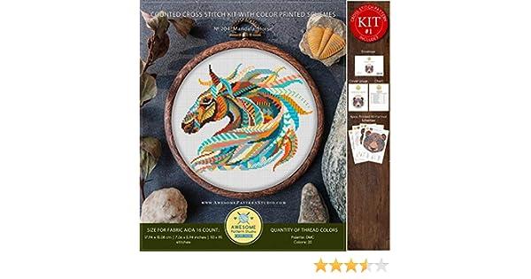Mandala Horse #K204 Cross Stitch Embroidery Kit Needlepoint Kits Cross Stitch Embroidery Funny Animals Cross Stitch World Stitching