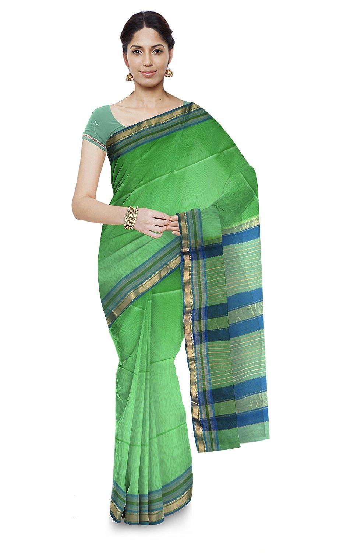 Light Green Color Maheshwari Cotton & Silk Saree With Blouse Piece