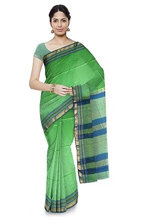 3c18609371411 Mahima Emporium Maheshwari Handloom Cotton and Silk Saree (Light Green)   Amazon.in  Clothing   Accessories