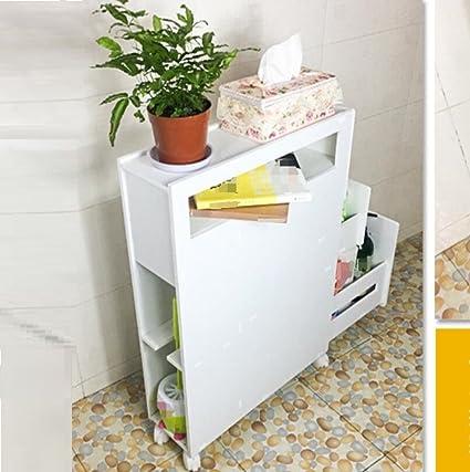 GL&G Baño muebles con freno ruedas inodoro lateral gabinete lado gabinete bodega cocina, sala de