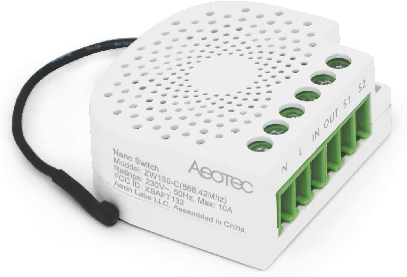 ZW111 1.2A Neutral Opcional Z-Wave Plus Atenuador de Pared para LED Aeotec ZW111-C Nano Dimmer Lectura de Consumo de Energ/ía Hal/ógeno Luces Fluorescentes 240 V Incandescente Blanco