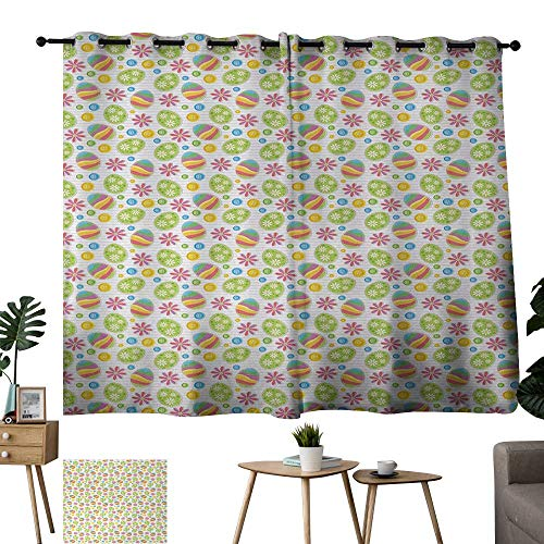 WinfreyDecor Curtain Easter,Patchwork Style Graphic Scrapbook Pattern with Daisy Sewing Buttons and Egg Figures,Multicolor 84