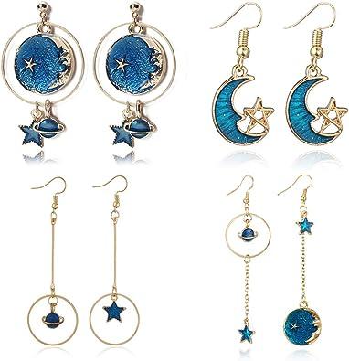 Star ,moon enamal earrings