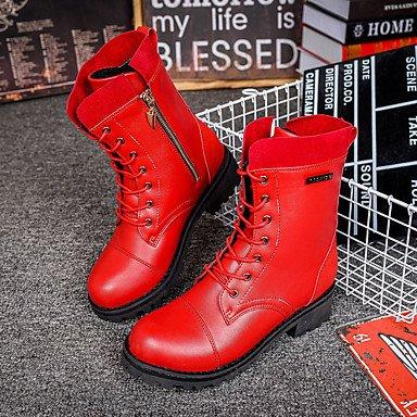 Wsx & Plm Femmes-bottines-casual-confort-flat-pu (polyuréthane) -black Red, Us8.5 / Eu39 / Uk6.5 / Cn40