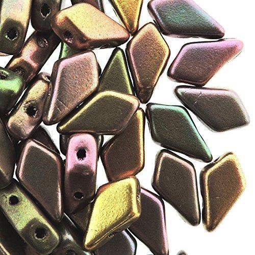 Czech Glass Kite Beads, 2-Hole Elongated Diamond Shaped Beads 9x5mm, 9 Grams, Crystal Violet Rainbow
