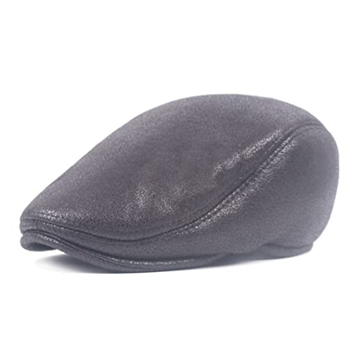434f705a811 King Star Mens Womens PU Leather Beret Hat Flat Visor Newsboy Cap Black