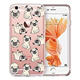 Unov Case Clear with Design Embossed Pattern Soft TPU Bumper Shock Absorption Slim Protective Cover for iPhone 6s iPhone 6 4.7 inch(Pug Dog)