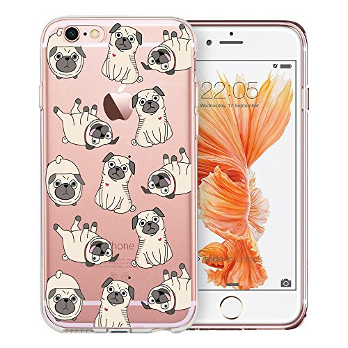 iPhone 6s Plus Case Clear, Unov iPhone 6 Plus Case Clear with Design Soft TPU Bumper Shock Absorption Slim Embossed Pattern Protective Cover for Apple iPhone 6s/6 Plus 5.5 inch (Pug Dog)