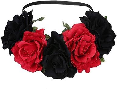 Tresses Cheveux Fleur Floral élastique serre-tête ROSES rose blanc