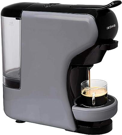 IKOHS Máquina de Café Espresso Italiano - Cafetera Multi Cápsulas Compatible Nespresso 3 en 1, 19 bares con 2 Programas de Café, deposito extraíble, 0,6 L, compacto, 1450 W, apagado automático Gris: Amazon.es: Hogar